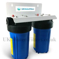 Twin Pre Filter Housing Unit Including GAC Carbon Filter Plus Polypropylene Sediment Filter