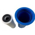 Under sink water filter cartridge and housing
