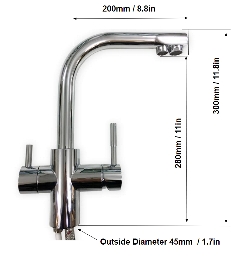 Three way filtered tap dimensions